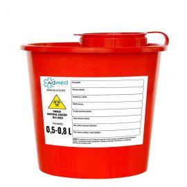 Pojemnik na odpady medyczne 0,5-0,8 l pcv czerwony