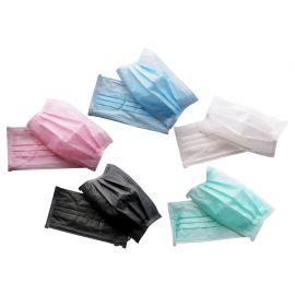 Maseczka ochronna włókninowa 3-warstwowa z gumką (różne kolory)  - opakowanie 50 sztuk