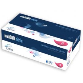 Rękawiczki nitrylowe, bezpudrowe, kategoria III, niebieskie, MediCare Zarys - op. 100 szt.