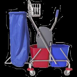 Wózek dwuwiaderkowy 2x17l (prasa, uchwyt na worek, koszyczek)