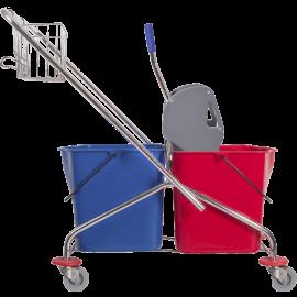 Wózek dwuwiaderkowy poj. 2 x 23, z prasą i metalowym koszyczkiem